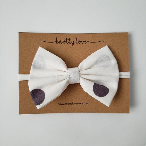 Purple & Gray Spots Classic Bow