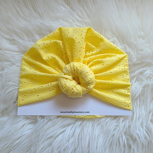 Yellow Eyelet Top Knot Headwrap