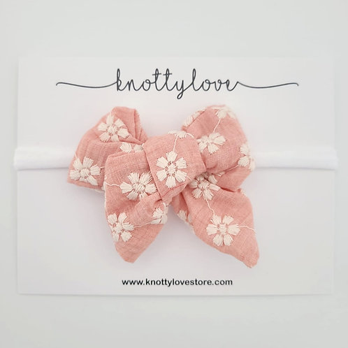 Peachy Floral Pinwheel Bow