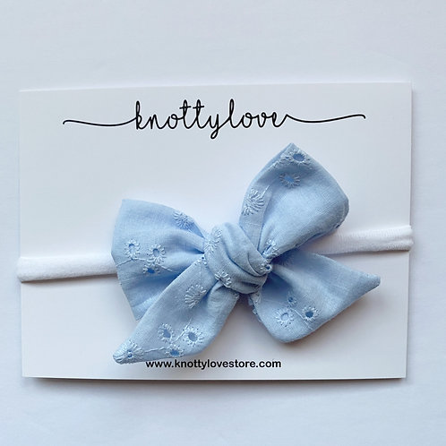 Baby Blue Eyelet Pinwheel Bow