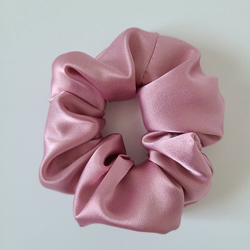 Dusty Rose Satin Scrunchie