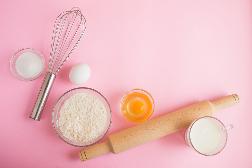Frame of food ingredients for baking on
