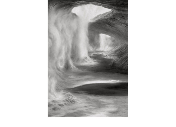 """Untitled (#Jan. 08) Charcoal on polyester film, © 2008, 9.5 x 6.5"""""""