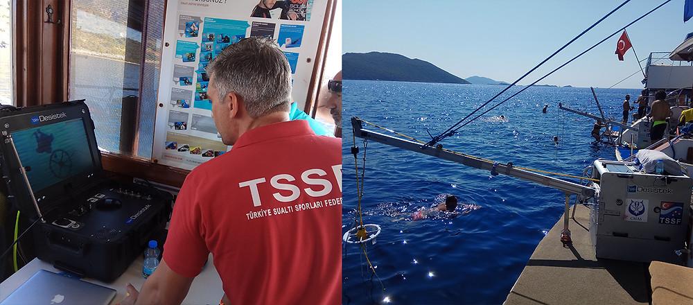 Изображения с подводной камеры и стартовая зона