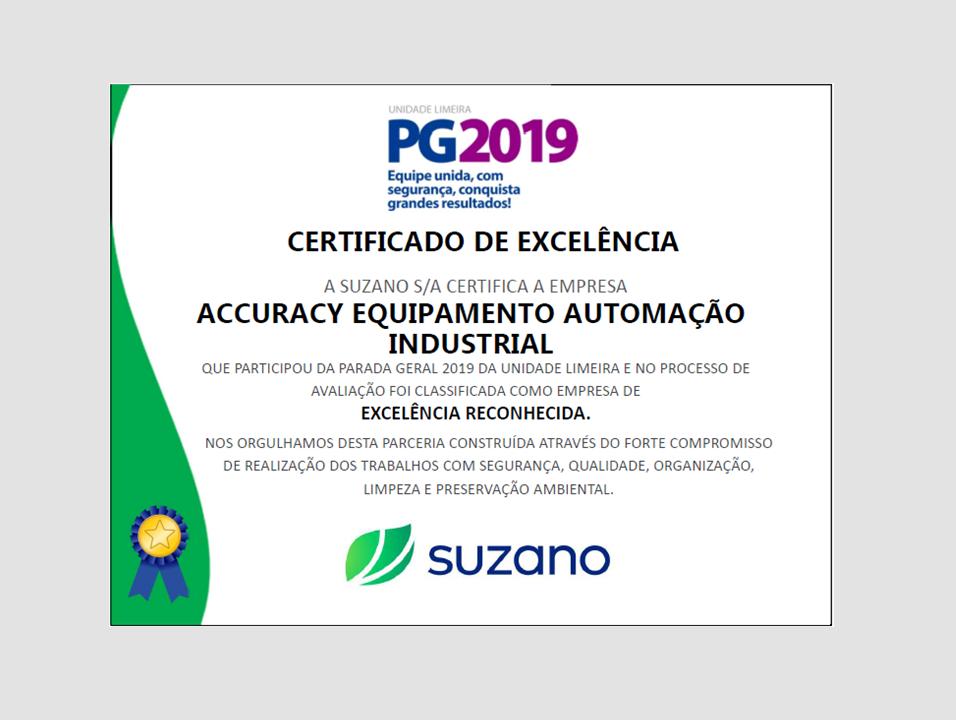 Certificado de Excelência SUZANO