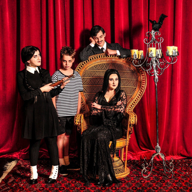 "Wednesday, Pugsley, Gomez and Morticia in ""The Addams Family"""