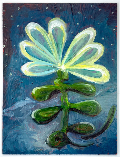 """Moon Flower"" 2020. Oil on panel 8 x 6""."