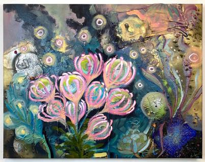 """Rose Garden"" 2020. Mixed media on canvas 22 x 28"""