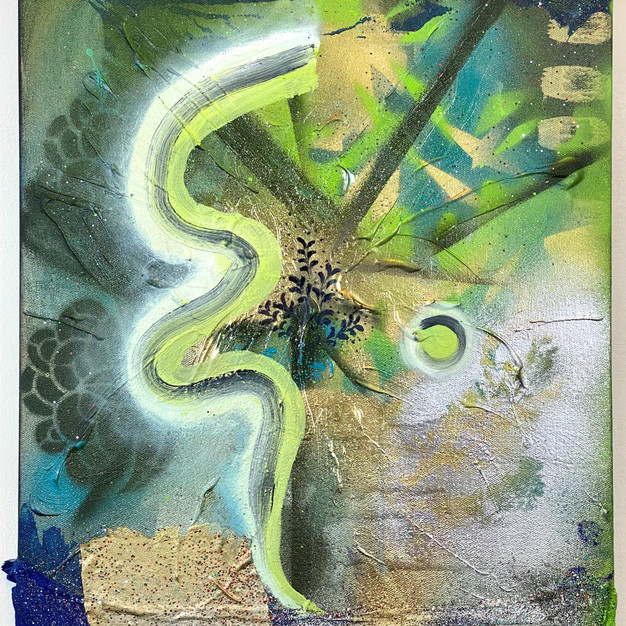 """Sway"", 2020. Mixed media on canvas, 18 x 14"" (hold)"