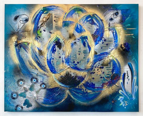 """Blue Majorca"" 2020. Mixed media on canvas 24 x 30"". (sold)"