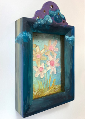 """""""Buttercups (Palimpsest of Spring)"""" 2020. Mixed media on panel 9 x 5 x 2""""."""