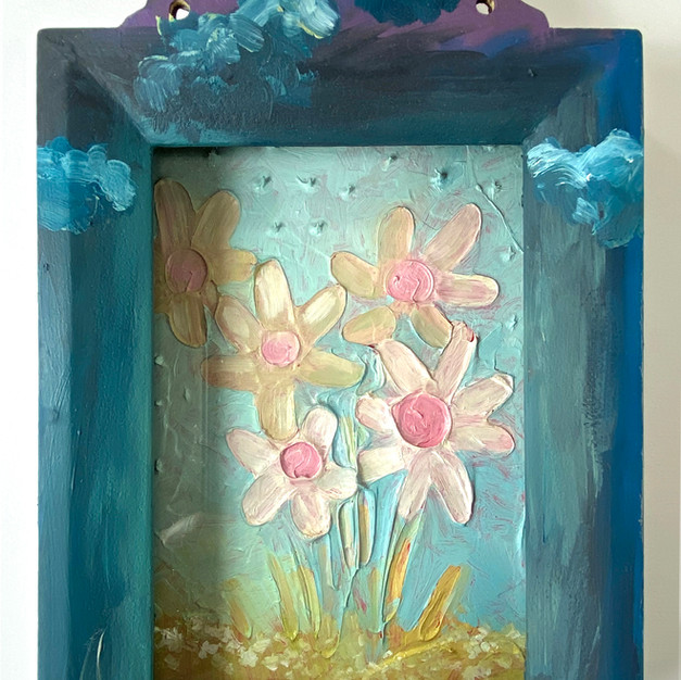"""""""Buttercups (Palimpsest of Spring)"""" 2020. Mixed media on panel, 9 x 5 x 2""""."""