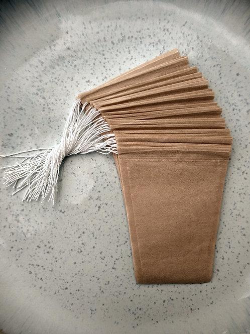 Unbleached Fillable Drawstring Tea Bags - 25 pieces