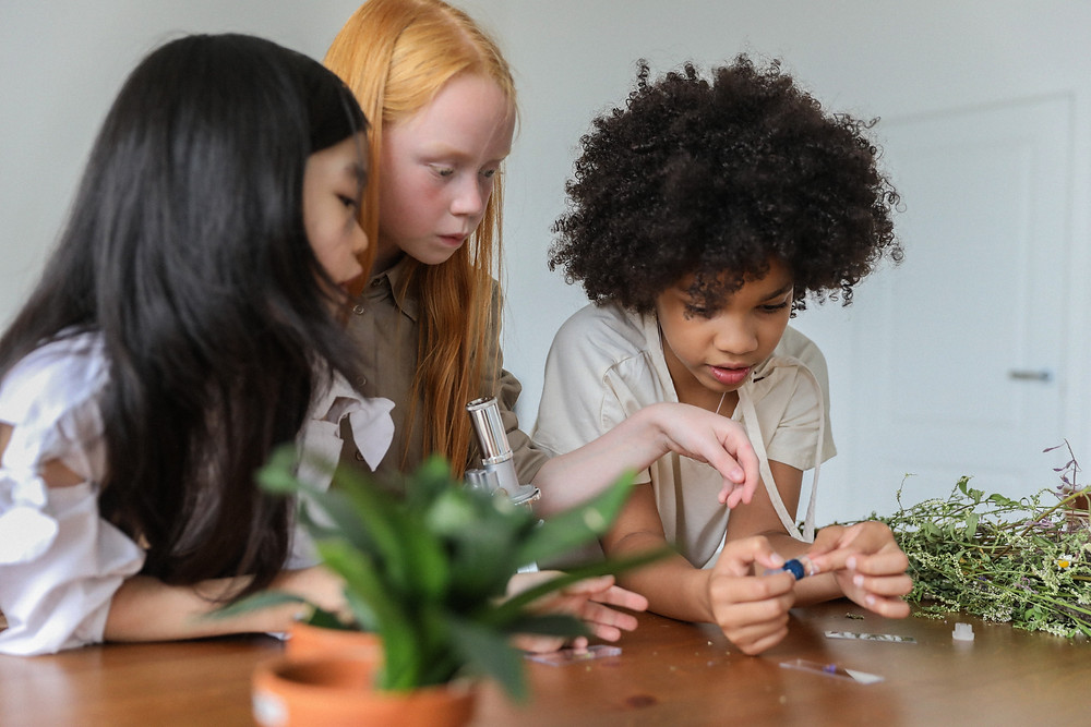 Children exploring science by looking in at plants under a microscope
