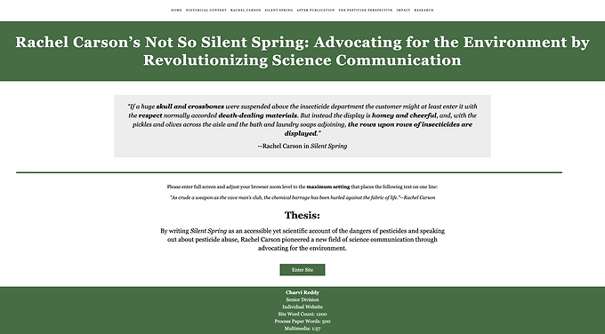 Rachel Carson's Not So Silent Spring: Advocating for the Environment by Revolutionizing Science Communication