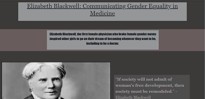 Elizabeth Blackwell: Communicating Gender Equality in Medicine