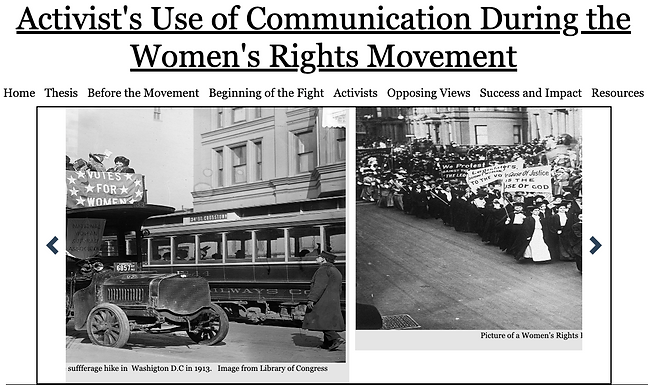 Activists use of Communication During the Womens Right's Movement