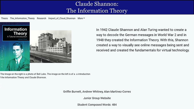 Claude Shannon and the Information Theory