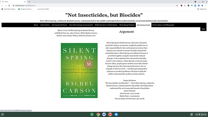 """""""Not Insectcides, But Biocides"""" - How Silent Spring, Written by Rachel Carson, Communicated to the Public and Helped Them Understand the Environmental Hazards of Pesticides"""