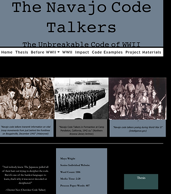 Title of Entry: The Navajo Code Talkers: The Unbreakable Code of WWII Division