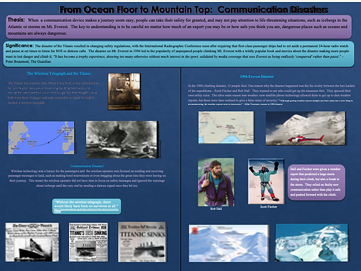 From Ocean Floor to Mountain Top:  Communication Disasters