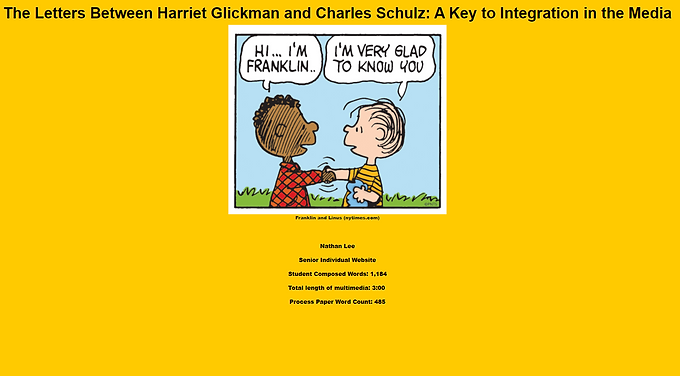 The Letters Between Harriet Glickman and Charles Schulz: A Key to Integration in the Media