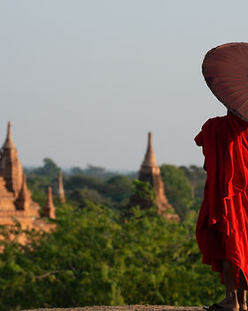 Monk Overlooking at a Temple