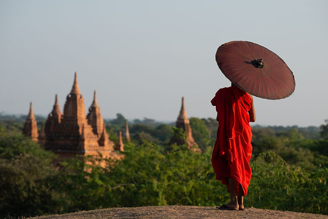 Cambodian Monk Overlooking Temples