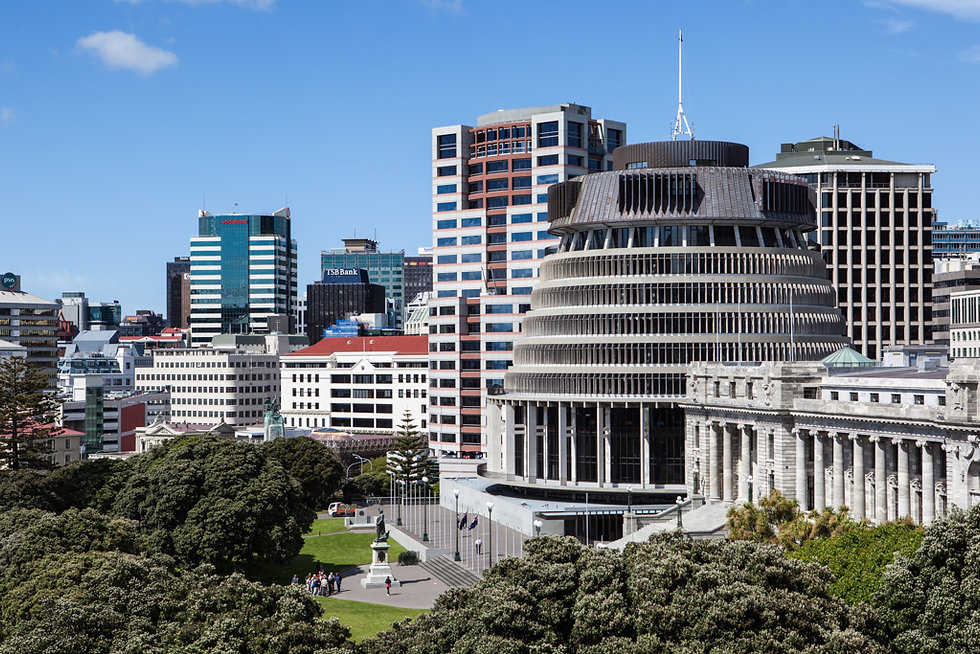 View of the Beehive in Wellington, New Zealand