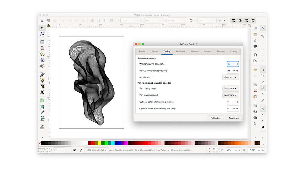 Screenshot of Inkscape showing an artboard with generative art (created with the Sketch plugin Looper) and the AxiDraw Control settings.