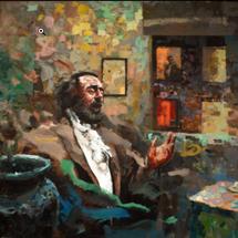 Pavarotti's visit - Dream of October, 13th, 2020 138x159cm - mixed media on canvas - 2021