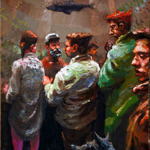 Sub-aquatic gathering - 50x36 - oil on a wooden panel - 2020