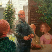 Friendly Dinner - 50x36 - oil on a wooden panel - 2020 - available