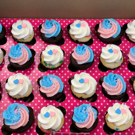 Blue and pink mini cupcakes