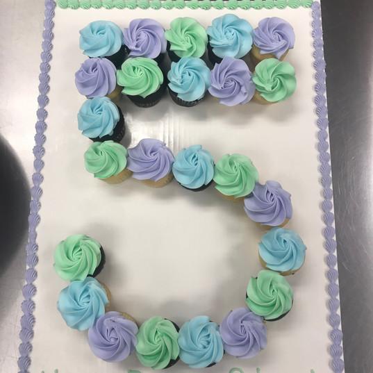 Number five pull apart cake
