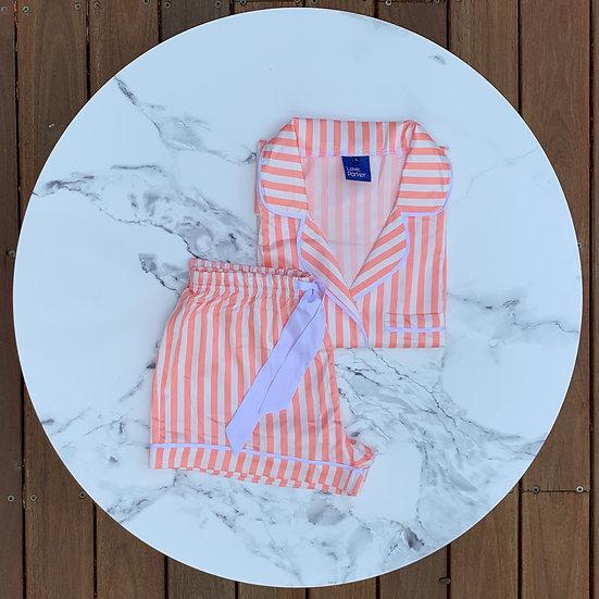 The Striped Short Set - Peach