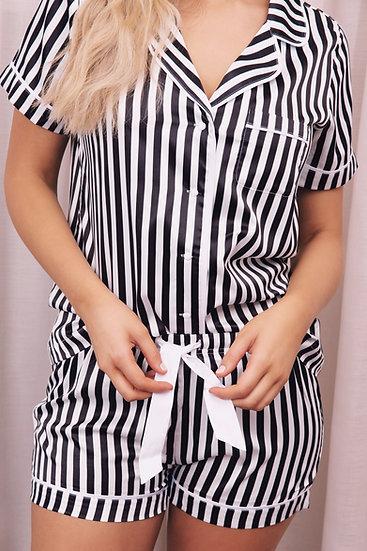 The Striped Short Set - Liquorice
