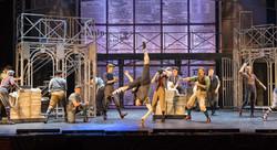Captured mid-aerial in Newsies (McCoy Rigby - La Mirada Theatre)