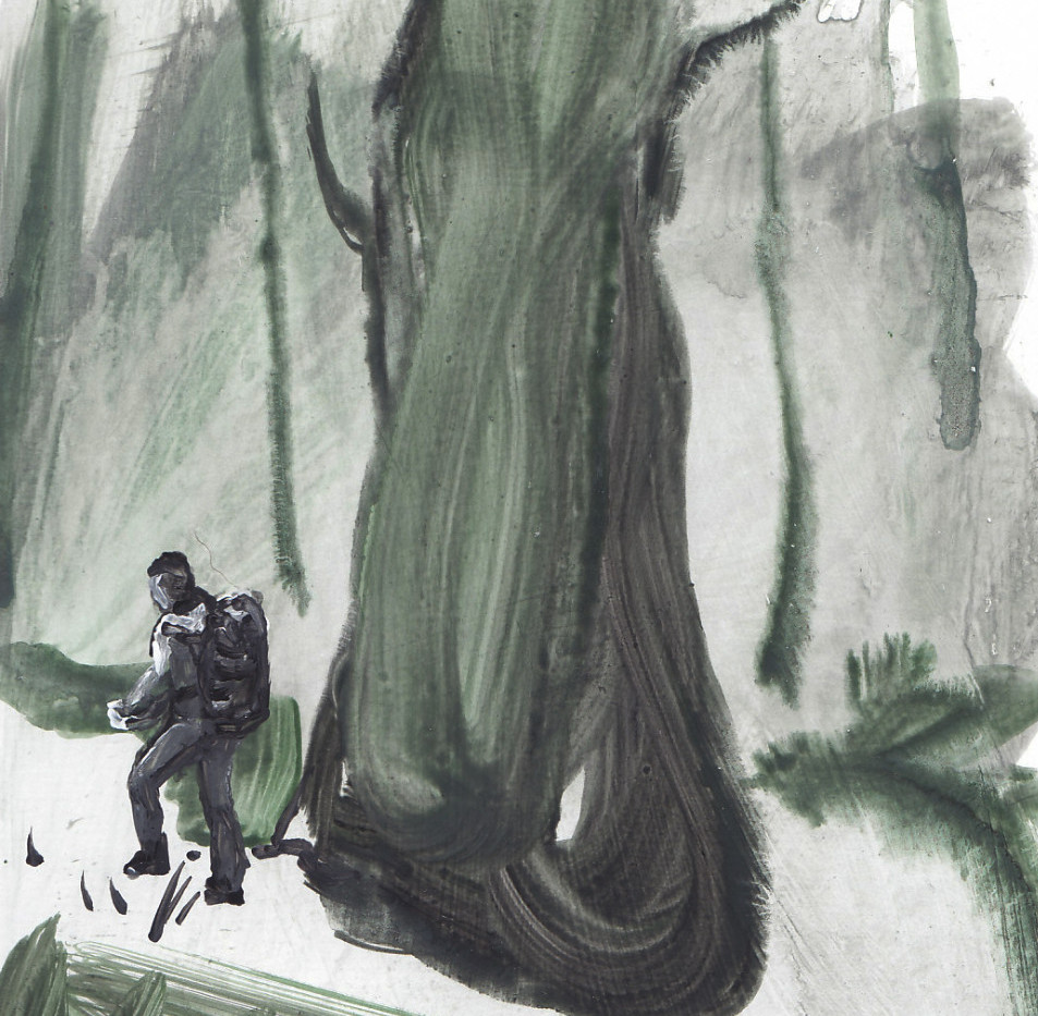Man and the tree, acrylic on paper, 2015