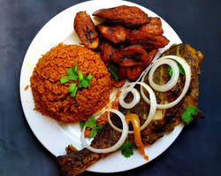 Jollof Rice, Grilled Fish and Plantains