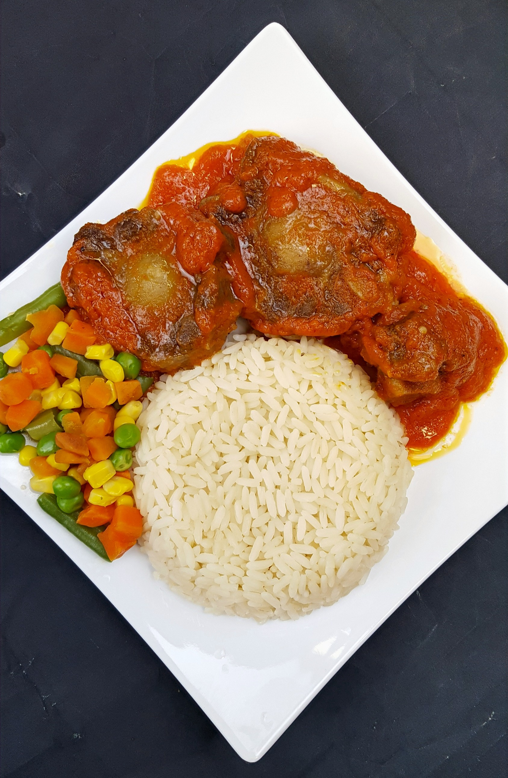 White Rice, Mixed Veggies and Ox-tail