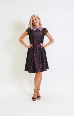 Purple Dress with Black Dots