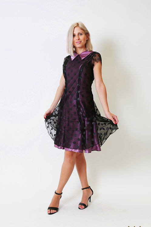 Purple Dress with Black Dots