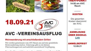 Einladung zum AVC Vereinsausflug 2021