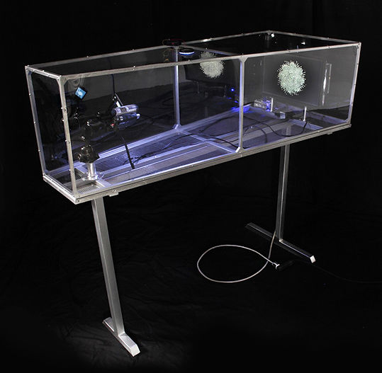 """The Artist"" video feedback machine, aluminum, plexi, LCD screen, video camera, LED light. Pacific Design Center."