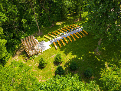 Aerial view of wedding venue henry county