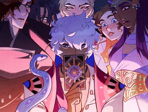 mystic romance characters surroundig tarot cards