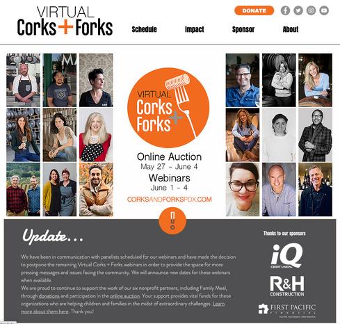 VIRTUAL CORKS + FORKS 2020 - WEBSITE