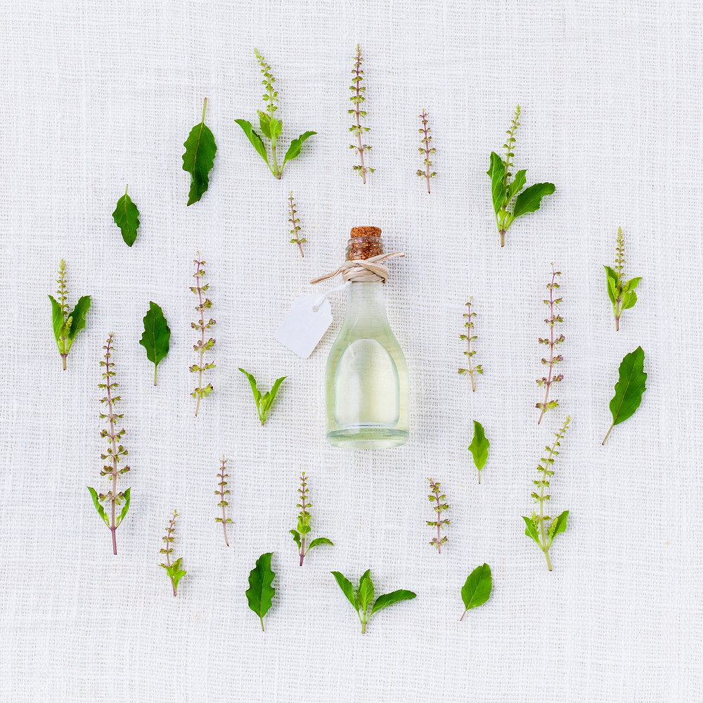 Small bottle surrounded by plants
