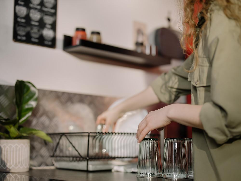 Women washing dishes